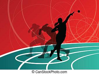 piłka, kobieta, strzał, wyrzucanie, putter, ilustracja, sylwetka, wektor, tło, czynny, atletyka, sport, abstrakcyjny