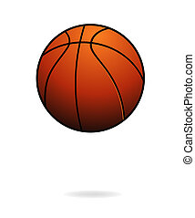 piłka, kolor, odizolowany, basletball, pomarańcza, sport
