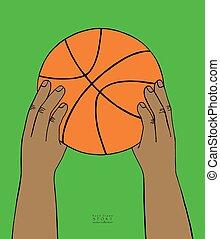 piłka, koszykówka, sketch., kolor, zbiór, ręka, tło., wektor, zielony, ilustracja, siła robocza, pociągnięty, utrzymywać, sport