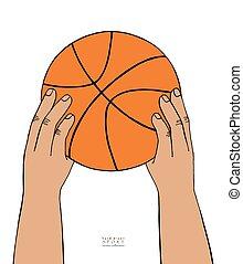 piłka, koszykówka, sketch., zbiór, ręka, tło., utrzymywać, wektor, ilustracja, siła robocza, pociągnięty, biały, sport