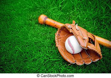 piłka, nietoperz, baseballowa rękawiczka