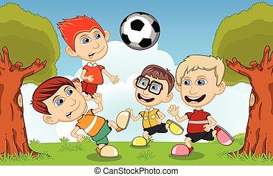 piłka nożna, grający dziećmi