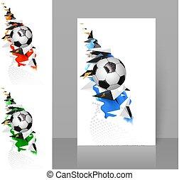 piłka nożna, komplet, elements., abstrakcyjny, piłka nożna, trzy, biały, czarnoskóry, projektować, geometryczny, sport, chorągwie