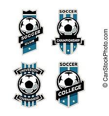 piłka nożna, komplet, logo, piłka nożna, emblem.