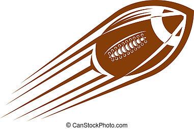 piłka nożna, rugby, przelotny, powietrze, amerykanka, piłka, przez, albo