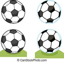 piłka nożna, rysunek, zbiór, piłki