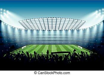 piłka nożna, stadium., podniecony, tłum, ludzie