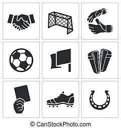 piłka nożna, wektor, komplet, ikony