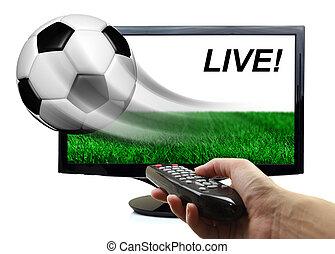 piłka, od, ekran, przelotny, odizolowany, ruch, piłka nożna
