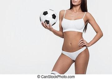 piłka, piłka nożna, bielizna, wole, kobieta dzierżawa