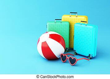 piłka, podróż, sunglasses., walizka, summer., 3d