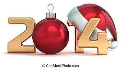 piłka, rok, nowy, 2014, boże narodzenie, szczęśliwy