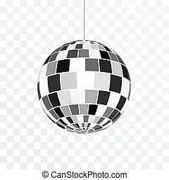 piłka, symbol, odizolowany, ilustracja, dyskoteka, nightlife., wektor, retro, tło, icon., partia., przeźroczysty