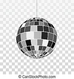 piłka, symbol, odizolowany, ilustracja, dyskoteka, nightlife., wektor, retro, tło, lustro, icon., partia., albo, przeźroczysty
