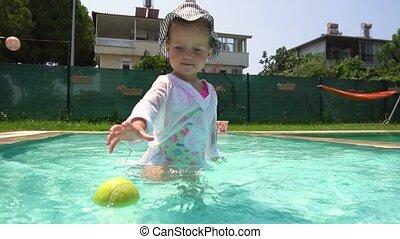 piłka, tenis, ruch, powolny, dziewczyna, grająca kałuża, pływacki