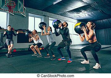 piłka, trening, czynnościowy, stosowność, medycyna, sala gimnastyczna