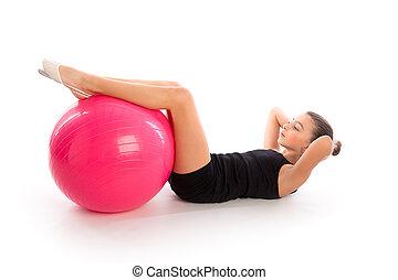 piłka, trening, fitball, stosowność, szwajcarski, dziewczyna, ruch, koźlę