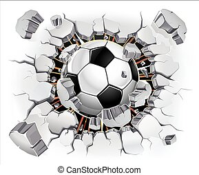 piłka, tynk, stary, ściana, piłka nożna