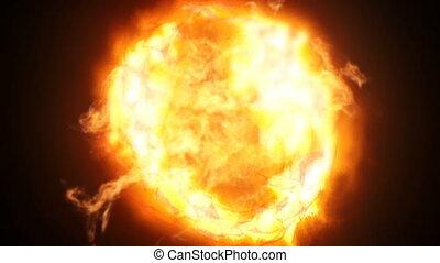 piłka, wybuch, ogień, wysoki, aparat fotograficzny., polowanie, szybkość