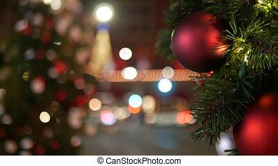 piłki, światła, boże narodzenie, wozy, czerwony, iskrzasty, tło., na wolnym powietrzu, miasto, effect., wróżka, droga, bokeh, drzewo, closeup, zamazany, girlanda, jasny, noc, ozdobny, defocused, festively, ulica