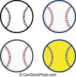 piłki, baseball, zbiór, komplet