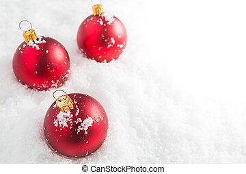 piłki, boże narodzenie, czerwony, śnieg