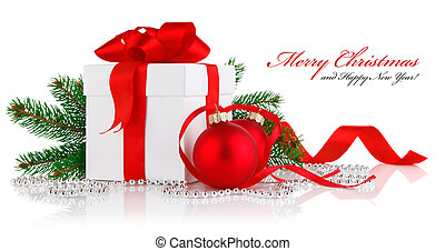 piłki, dar, gałąź, firtree, boże narodzenie, czerwony