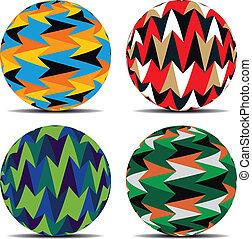 piłki, komplet, tło, barwny