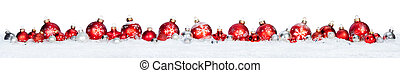 piłki, -, odizolowany, śnieg, brzeg, boże narodzenie, czerwony, hałas