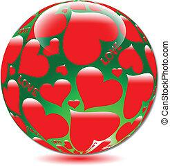 piłki, serce, miłość, szkło