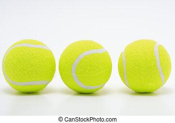 piłki, tenis, trzy, żółty, powierzchnia, biały