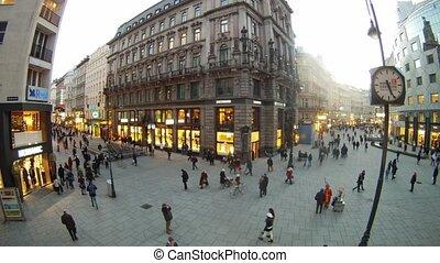 piłki, wzdęcia, klown, chód, stephansplatz, gdzie, turyści
