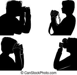 pi, boeiend, set, silhouettes, mensen