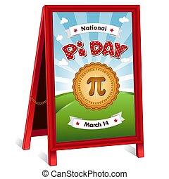 Pi Day Sign, folding sidewalk easel, March 14