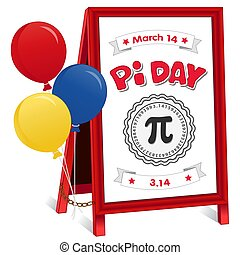 Pi Day Sign, March 14, folding sidewalk easel