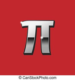 Pi greek 3D letter sign. Vector. Silver icon with black side on red background. Isolated.