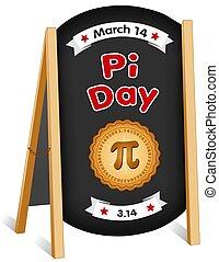 pi, jour, mars, 14, panneau craie, signe, plier, chevalet