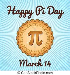 pi, maart, 14, dag, vakantie, vrolijke