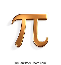 Pi Number Bronze Mathematical Symbol. 3D Render Illustration