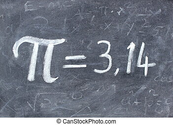 Pi number handwritten with white chalk on a blackboard