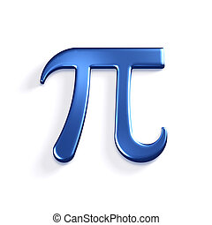 Pi Number Mathematical Symbol. 3D Render Illustration