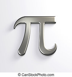 Pi Number Silver Mathematical Symbol. 3D Render Illustration