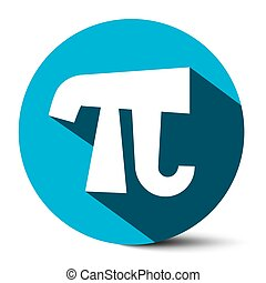 Pi Symbol - Vector 3,14 - 3,14159 Ludolf Flat Design Number pi Icon Illustration in Blue Ciircle