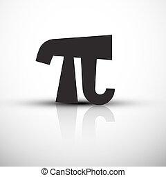 Pi Symbol - Vector Icon - Black pi Illustration with Reflection on Grey Background