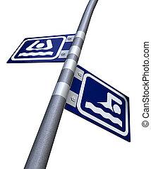 pia, ou, nade, direção, sinais