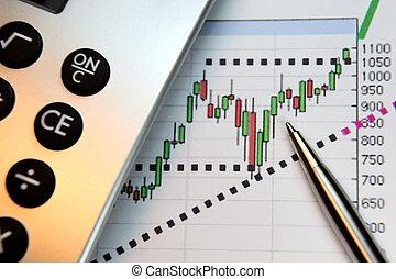 piac, jár, feláll, anyagi grafikon