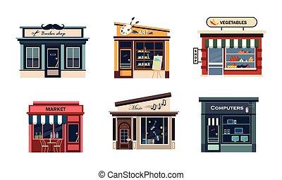piac, növényi, állhatatos, barbery, számítógépek, homlokzatok, művészet, vektor, különféle, ábra, háttér, zene, fehér, bevásárol
