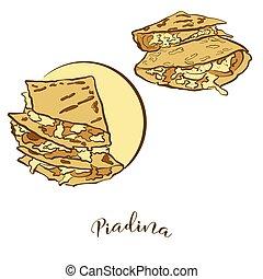 piadina, pain, coloré, dessin