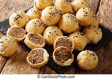 piah, 横, tau, sar, 作られた, ビスケット, mung 豆, 焼かれた, 満たされた, ペストリー, ...