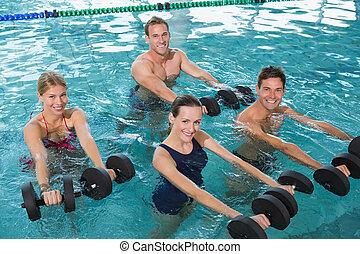 piana, klasa, aerobics, dumbbells, aqua, stosowność, szczęśliwy